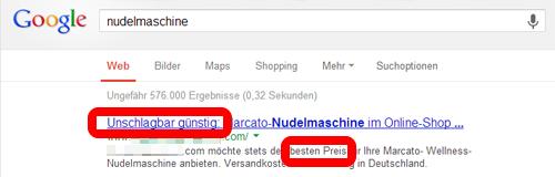 Screenshot Preisangabe